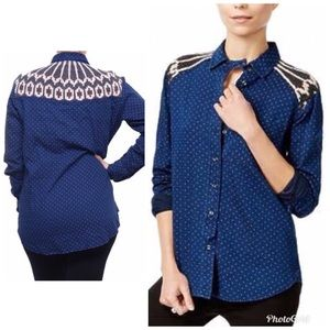 Free People Mixed Media Button Down Shirt